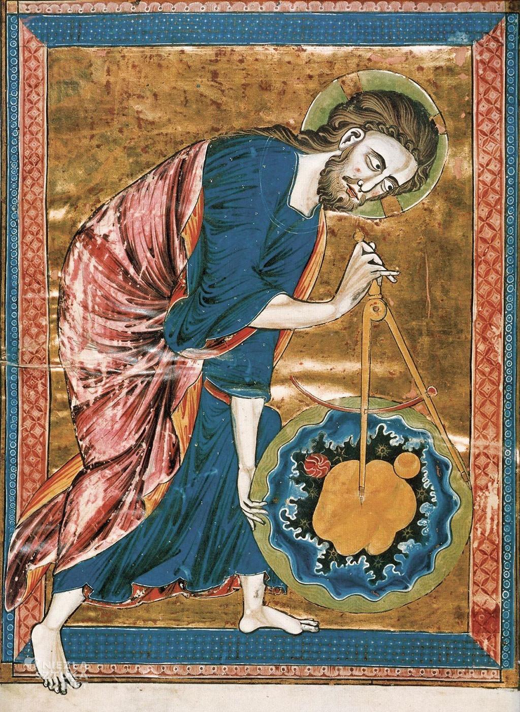 Wielki architekt świata, Bóg jako architekt, geometra, miniatura, Niezła sztuka