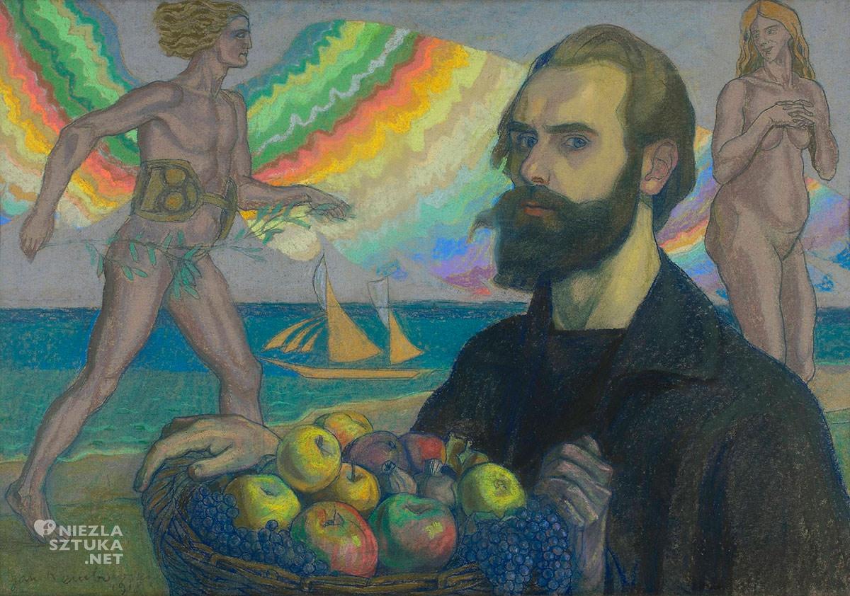 Jan Rembowski, Autoportret z koszem owoców na tle morza, Niezła sztuka