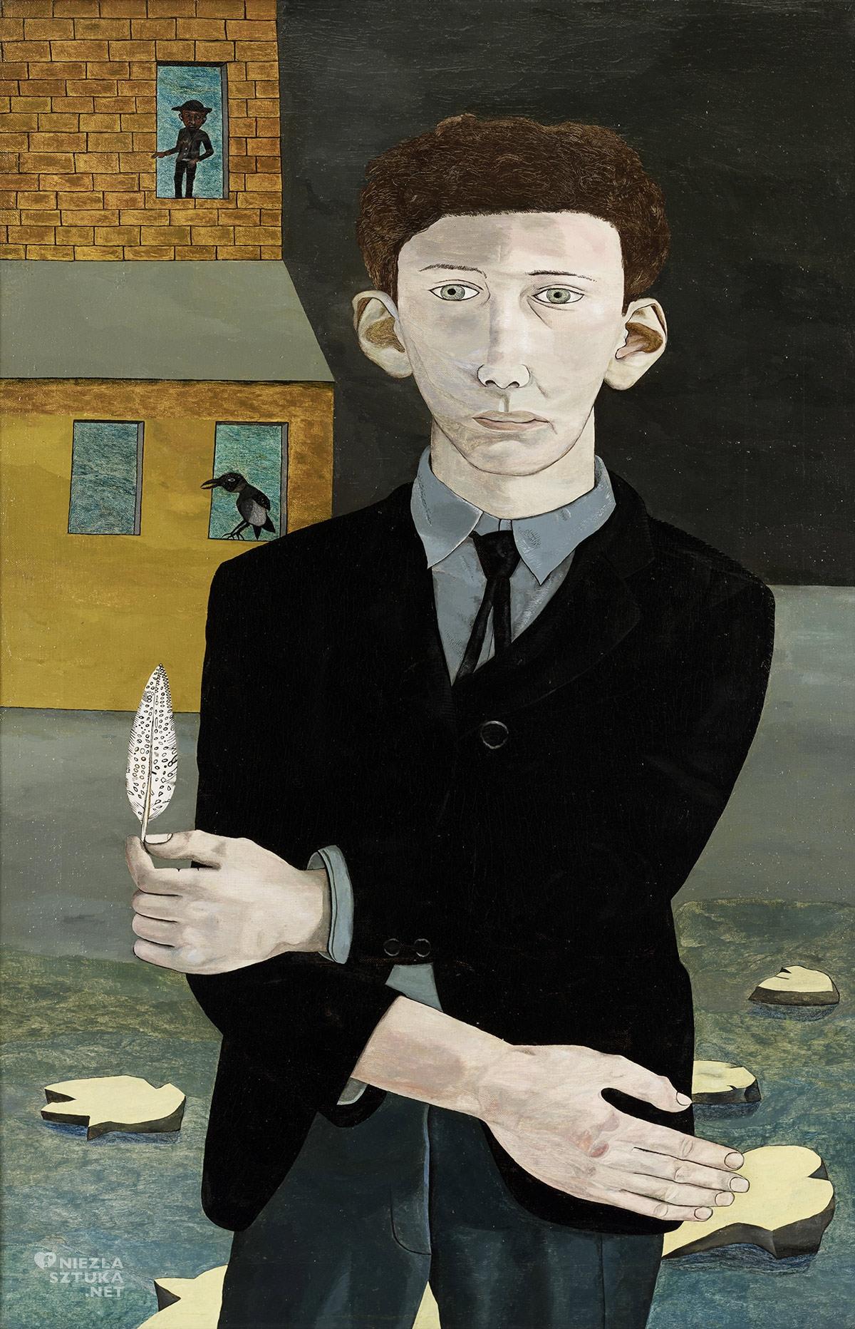 Lucian Freud, Mężczyzna z piórkiem, sztuka brytyjska, Niezła sztuka
