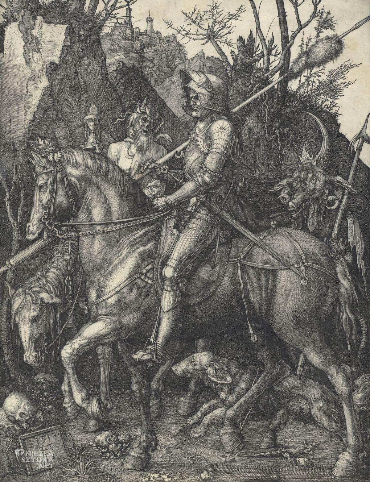 Albrecht Durer, Rycerz, śmierć i diabeł, drzeworyt, Niezła sztuka