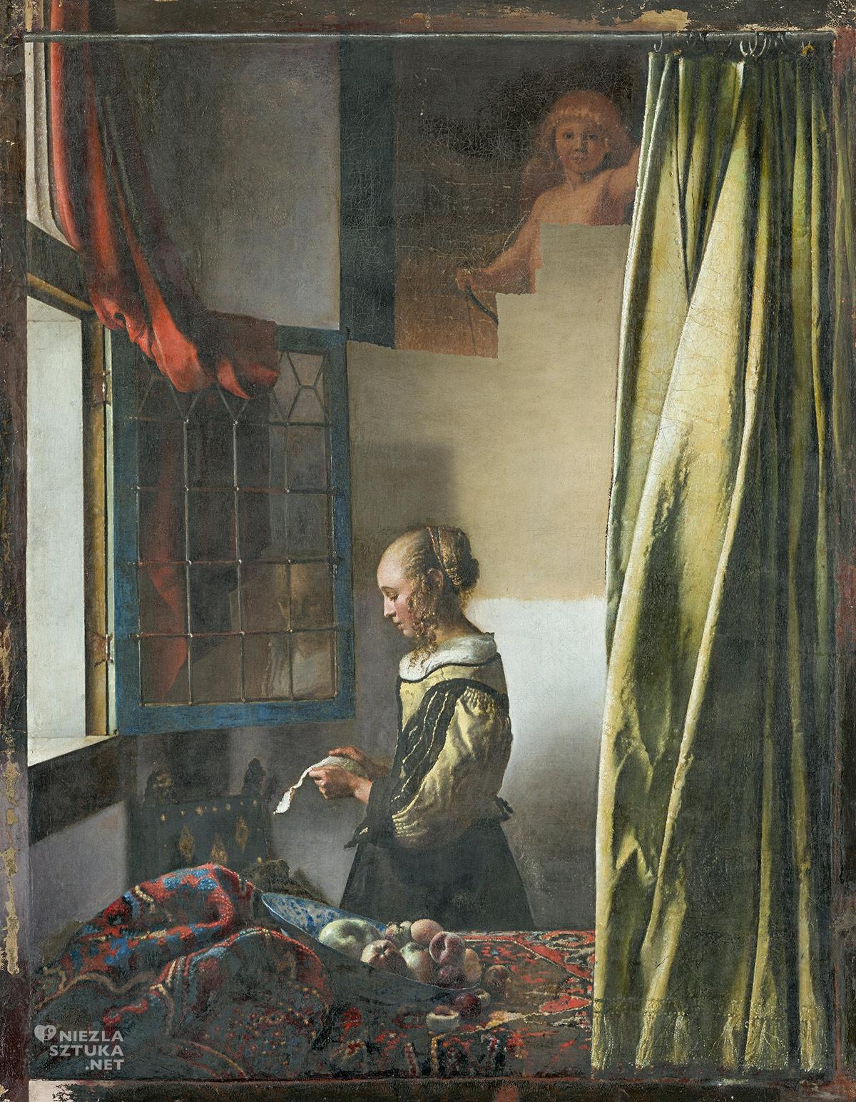 Johannes Vermeer, Dziewczyna czytająca list przy otwartym oknie, kupidyn, obraz w trakcie renowacji, ok. 1657-59, Galeria Obrazów Starych Mistrzów, Drezno, Niezła sztuka