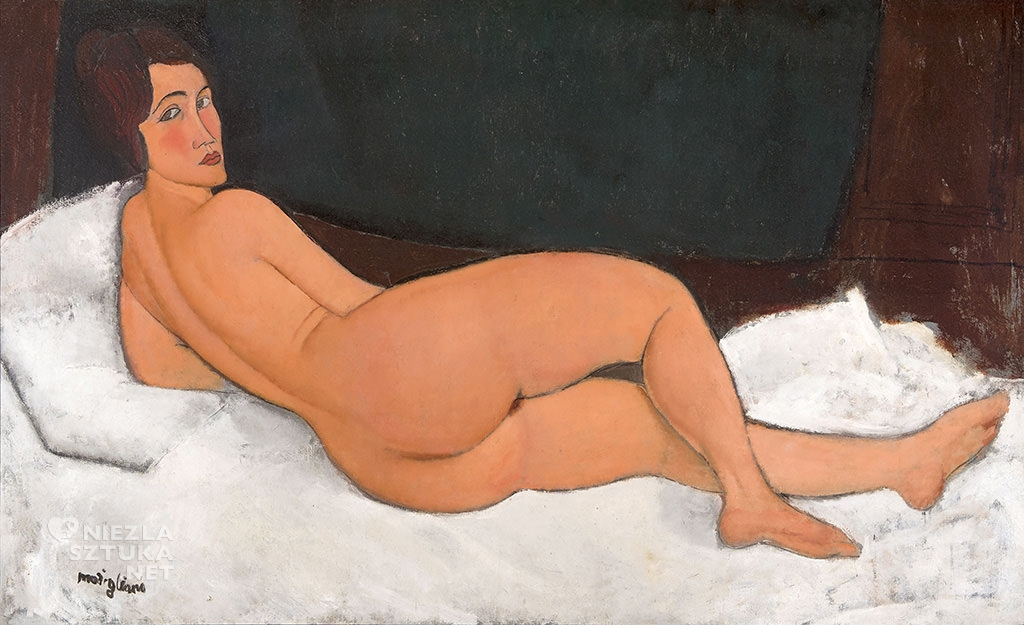 Amedeo Modigliani, Akt leżący, kobieta, akt, sztuka włoska, malarstwo olejne, portret, ekspresjonizm, sztuka nowoczesna, Ecole de Paris, Niezła Sztuka