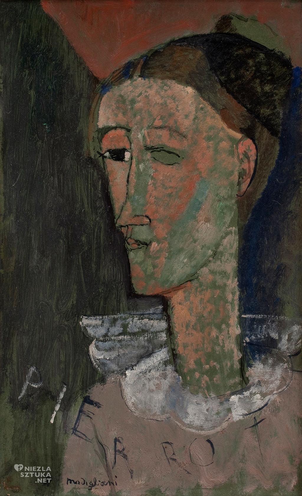 Amedeo Modigliani, Autoportret jako Pierrot, malarstwo olejne, autoportret, sztuka włoska, sztuka nowoczesna, Ecole de Paris, Niezła Sztuka
