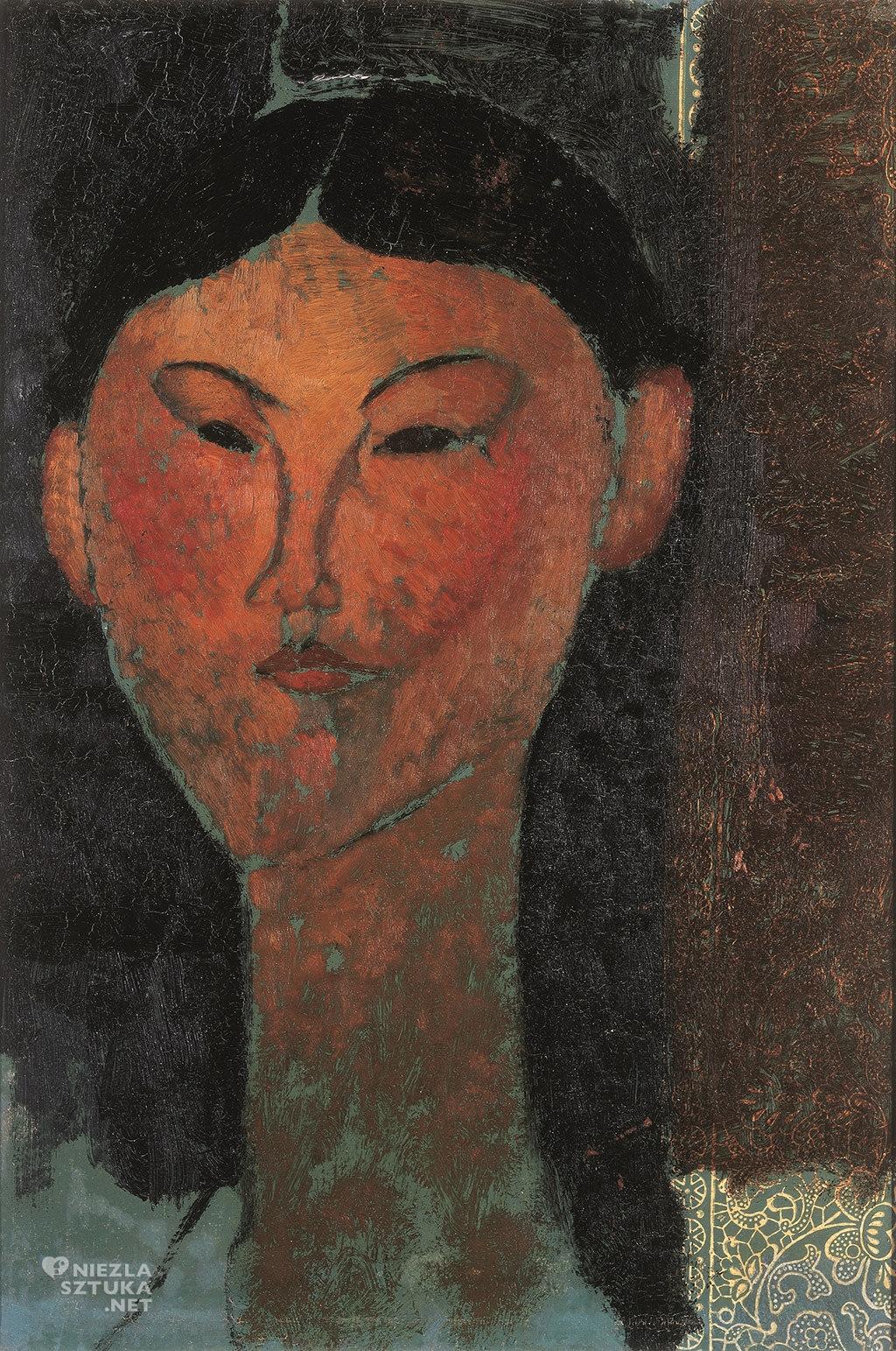 Amedeo Modigliani, Beatrice Hastings, malarstwo olejne, portret, sztuka włoska, sztuka nowoczesna, Ecole de Paris, Niezła Sztuka