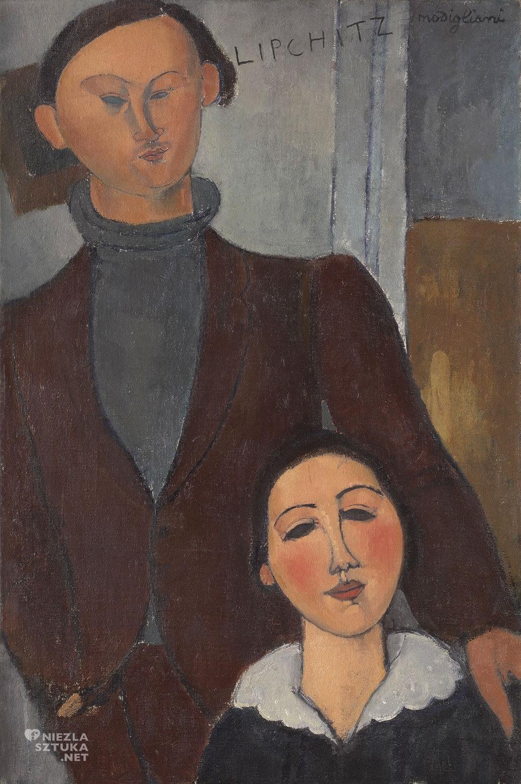 Amedeo Modigliani, Portret Jacquesa Lipchitza i jego żony Berthe Lipchitz, sztuka włoska, malarstwo olejne, portret, ekspresjonizm, sztuka nowoczesna, Ecole de Paris, Niezła Sztuka