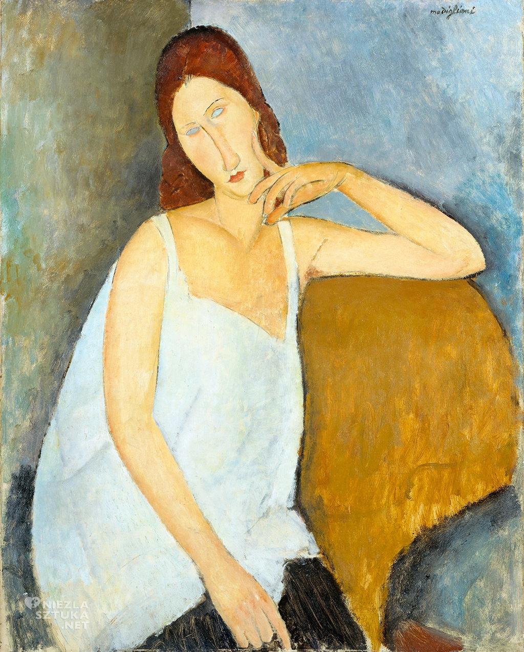 Amedeo Modigliani, Jeanne Hebuterne, sztuka włoska, malarstwo olejne, portret, ekspresjonizm, sztuka nowoczesna, Ecole de Paris, Niezła Sztuka