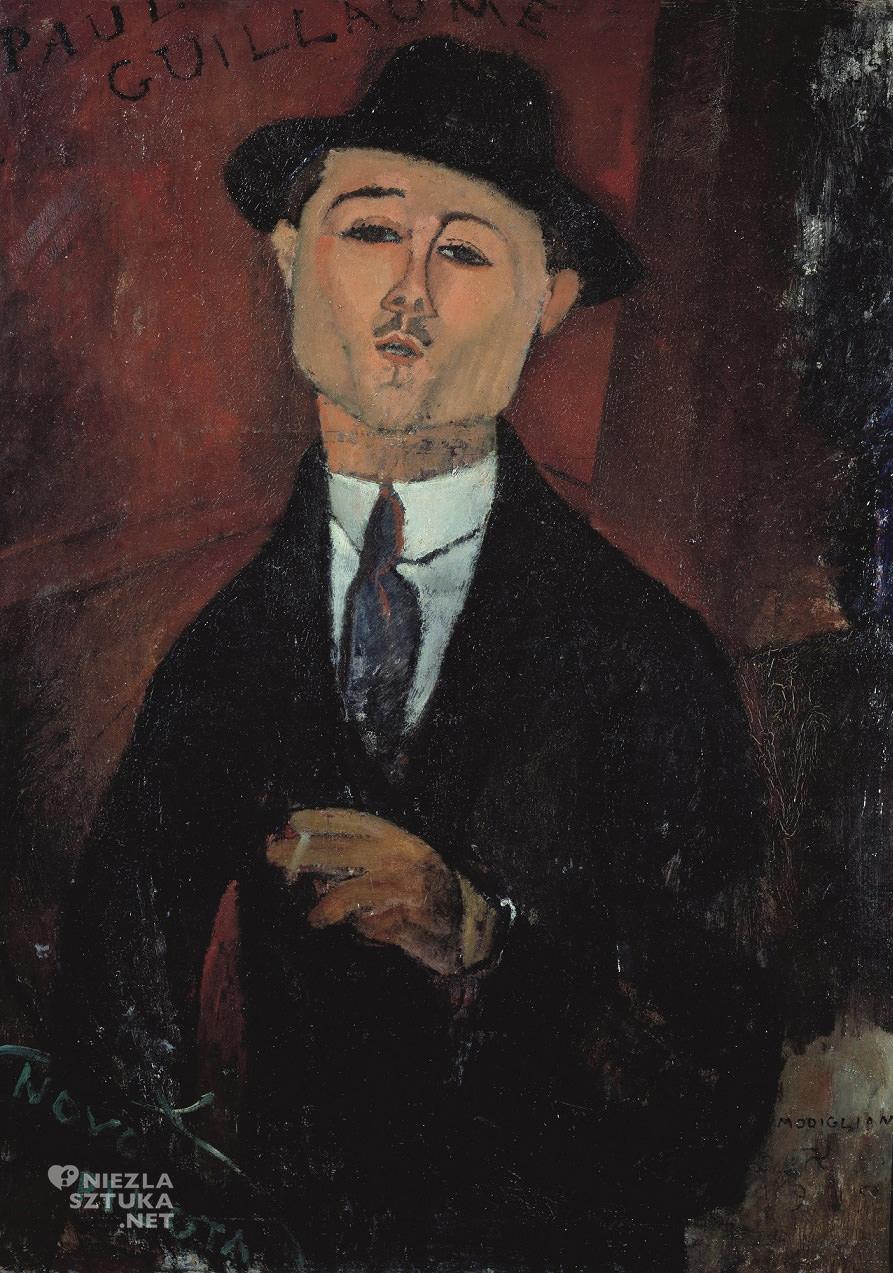 Amedeo Modigliani, Paul Guillaume, sztuka włoska, malarstwo olejne, portret, ekspresjonizm, sztuka nowoczesna, Ecole de Paris, Niezła Sztuka