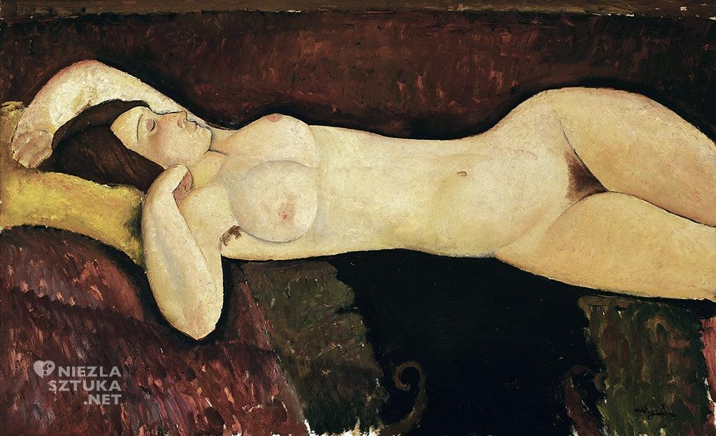 Amedeo Modigliani, Reclining Nude, Akt leżącej kobiety, Wielki akt, akt, sztuka włoska, malarstwo olejne, portret, ekspresjonizm, sztuka nowoczesna, Ecole de Paris, Niezła Sztuka