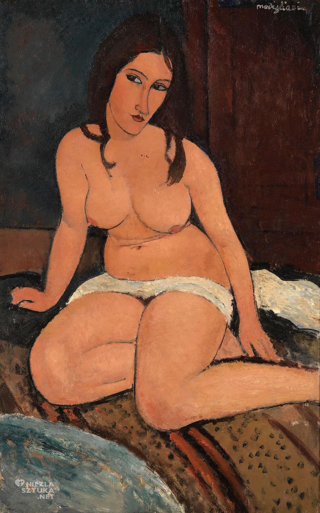 Amedeo Modigliani, Seated Nude, akt, akt siedzącej kobiety, sztuka włoska, malarstwo olejne, portret, ekspresjonizm, sztuka nowoczesna, Ecole de Paris, Niezła Sztuka