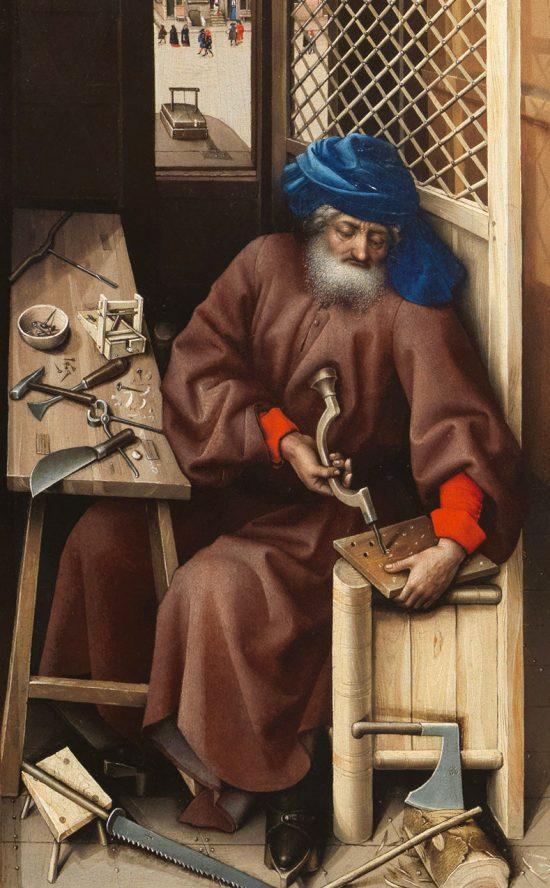 Robert Campin, Ołtarz Mérode, Zwiastowanie, św. Józef, sztuka niderlandzka, Niezła sztuka