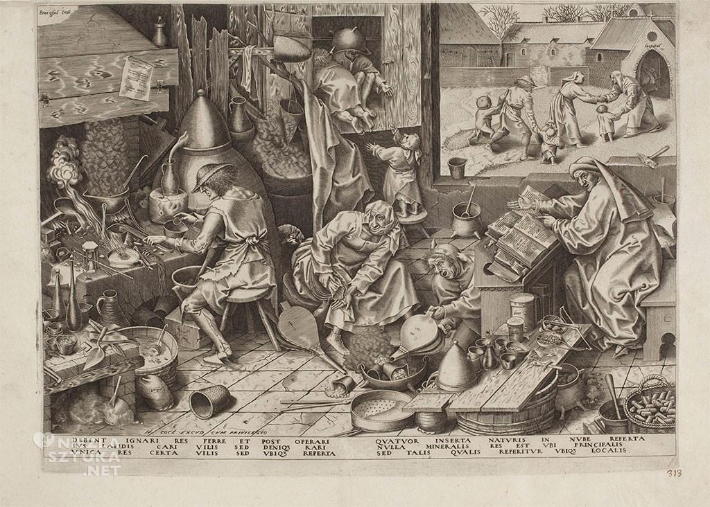 Pieter Bruegel Starszy, grafika, miedzioryt, alegoria, alchemik, Niezła Sztuka