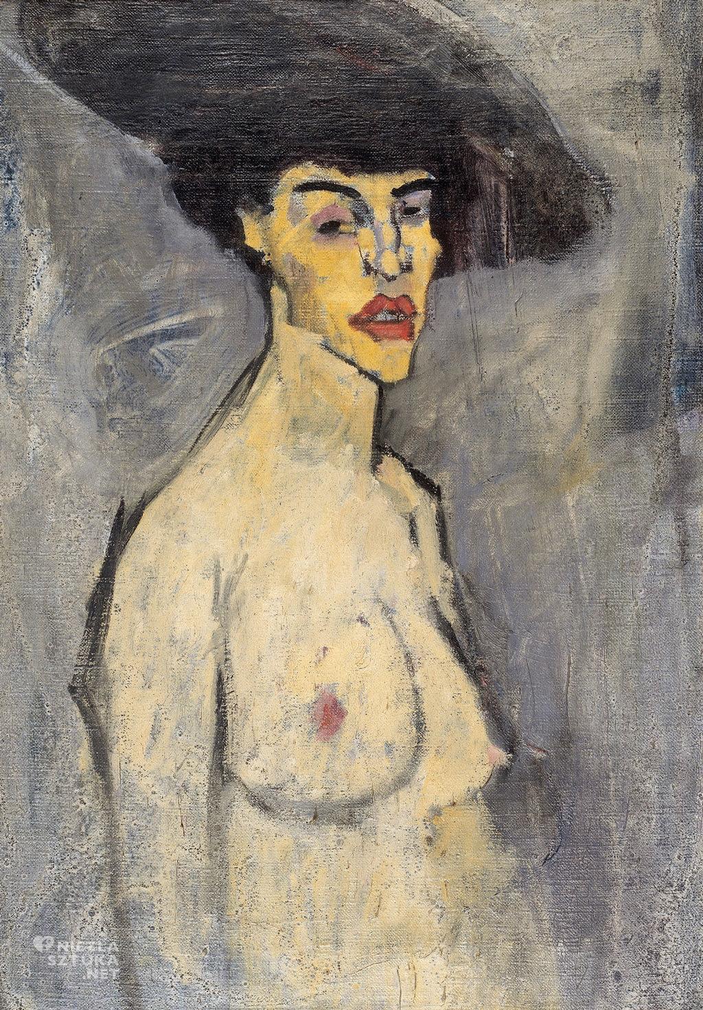 Amedeo Modigliani, Akt w kapeluszu, akt, sztuka włoska, malarstwo olejne, portret, ekspresjonizm, sztuka nowoczesna, Ecole de Paris, Niezła Sztuka