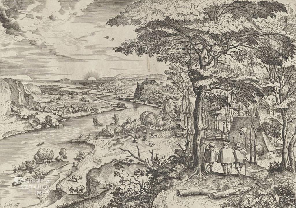 Pieter Bruegel Starszy, Chrystus z uczniami w drodze do Emaus, grafika, Niezła sztuka