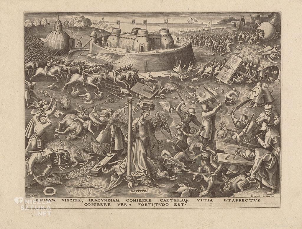 Pieter Bruegel Starszy, Męstwo , Fortitudo, alegoria, grafika, Niezła sztuka