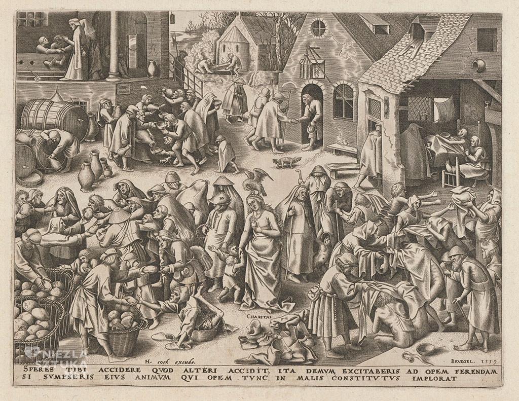 Pieter Bruegel Starszy, miłosierdzie, caritas, alegoria, grafika, Niezła sztuka