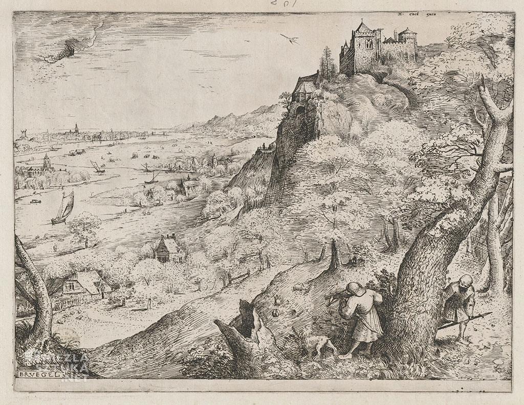 Pieter Bruegel Starszy, polowanie na dzikie króliki, grafika, Niezła sztuka