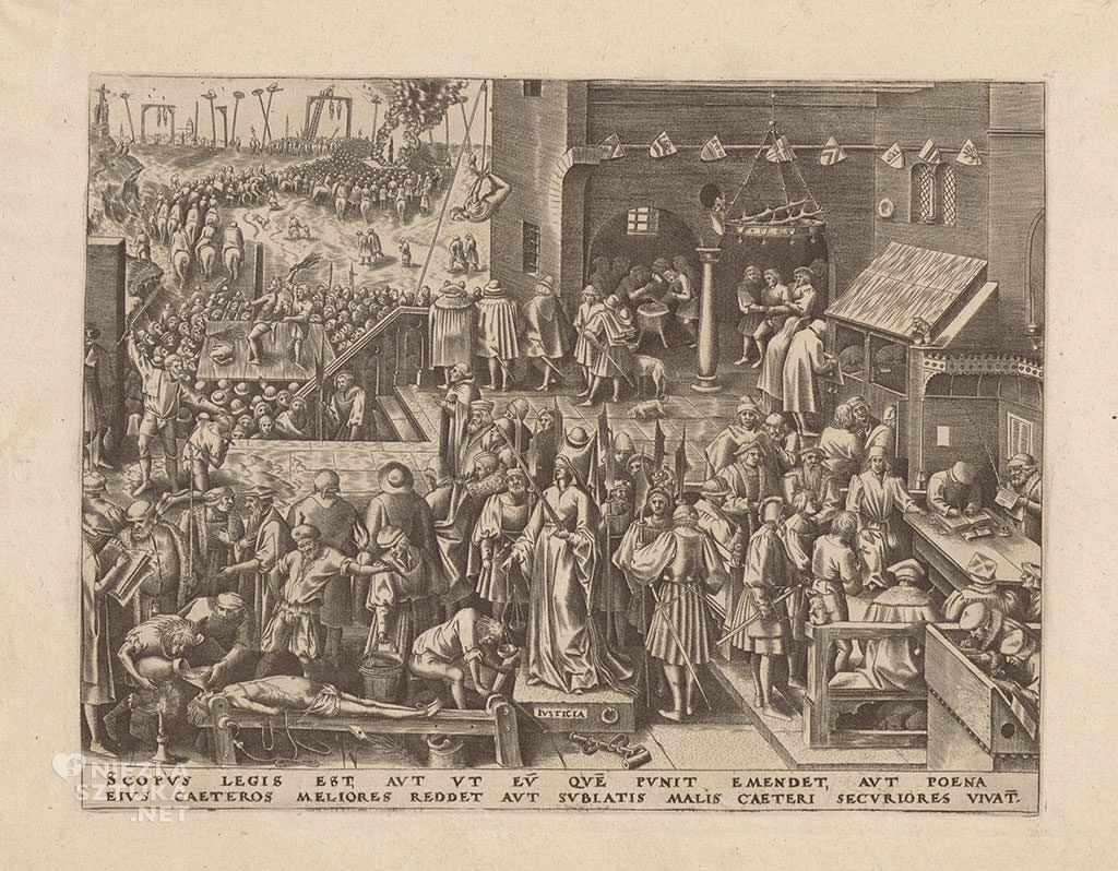 Pieter Bruegel Starszy, sprawiedliwość, Justicia, alegoria, grafika, Niezła sztuka