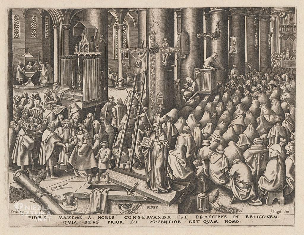 Pieter Bruegel Starszy, wiara, fides, alegoria, grafika, Niezła sztuka