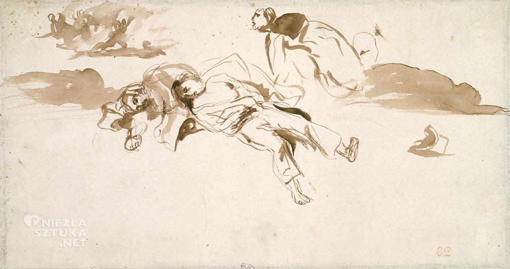 Eugène Delacroix, szkice, Wolność wiodąca lud na barykady, rewolucja francuska, Niezła Sztuka