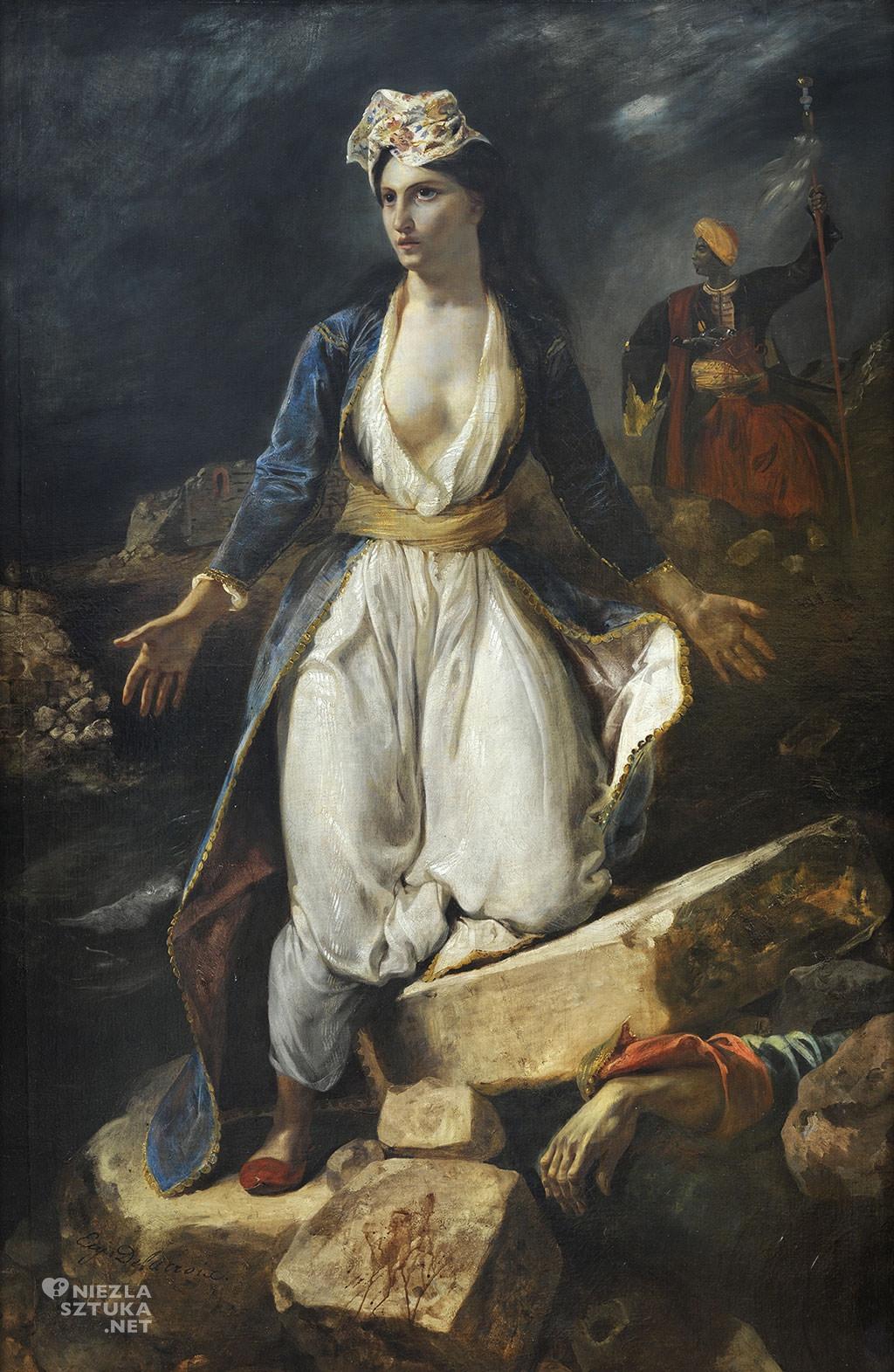 Eugène Delacroix, Grecja na ruinach Missolungi, 1826, Muzeum Sztuk Pieknych w Bordeaux, Niezła sztuka