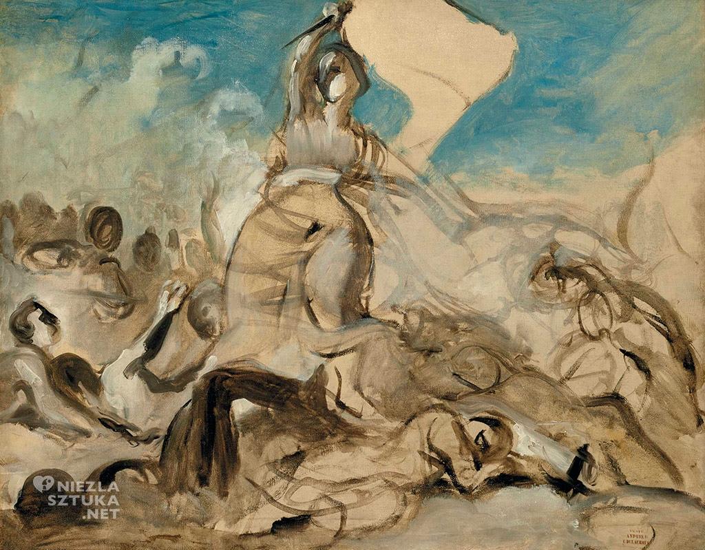 Eugène Delacroix, Wolność wiodąca lud na barykady, malarstwo francuskie, rewolucja francuska, Niezła Sztuka