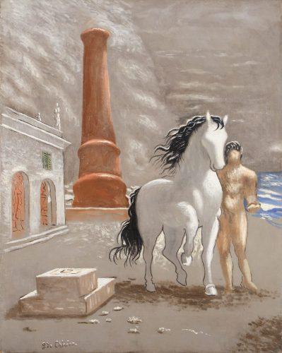 Giorgio de Chirico, Le rive della Tessaglia, surrealizm włoski, początek surrealizmu, włoska sztuka, malarstwo włoskie, Niezła Sztuka