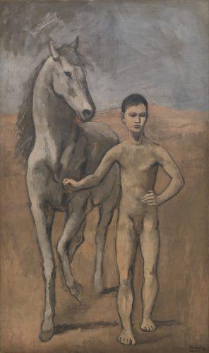 Pablo Picasso, Chłopiec prowadzący konia, malarstwo hiszpańskie, sztuka hiszpańska, okres niebieski, kubizm, modernizm, Niezła Sztuka