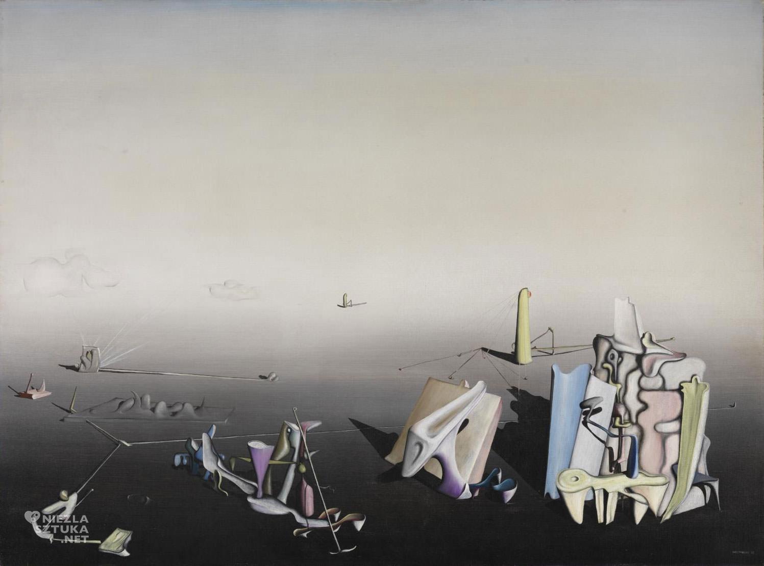 Yves Tanguy, Lazurowy dzień, surrealizm francuski, surrealizm, malarstwo francuskie, sztuka francuska, grupa Andre Breton, malarstwo francuskie, Niezła Sztuka