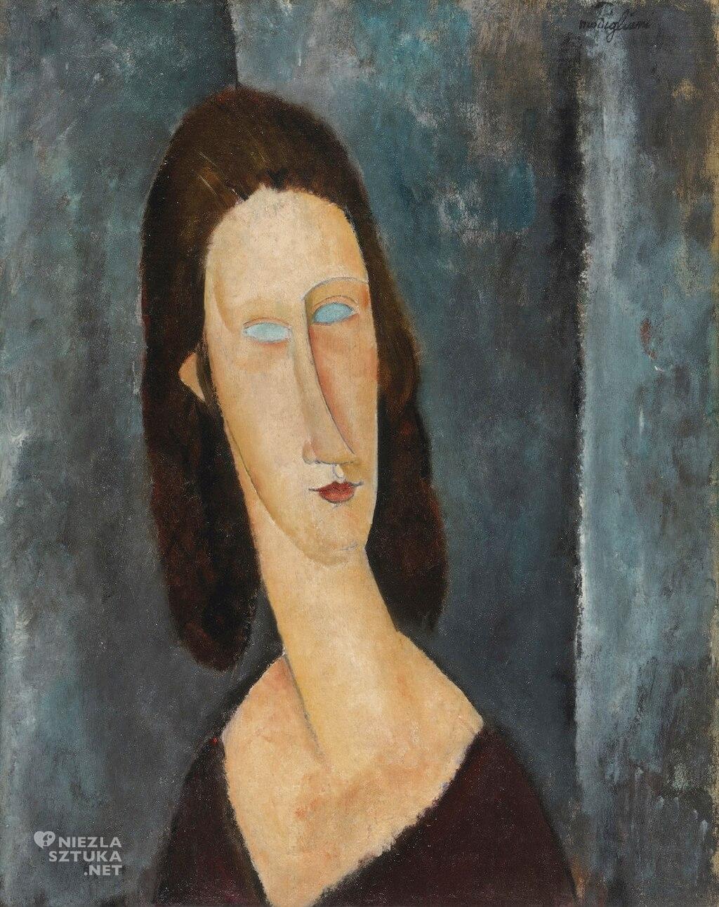 Amedeo Modigliani, Niebieskie oczy, Jeanne Hebuterne, portret, kobieta, Niezła sztuka