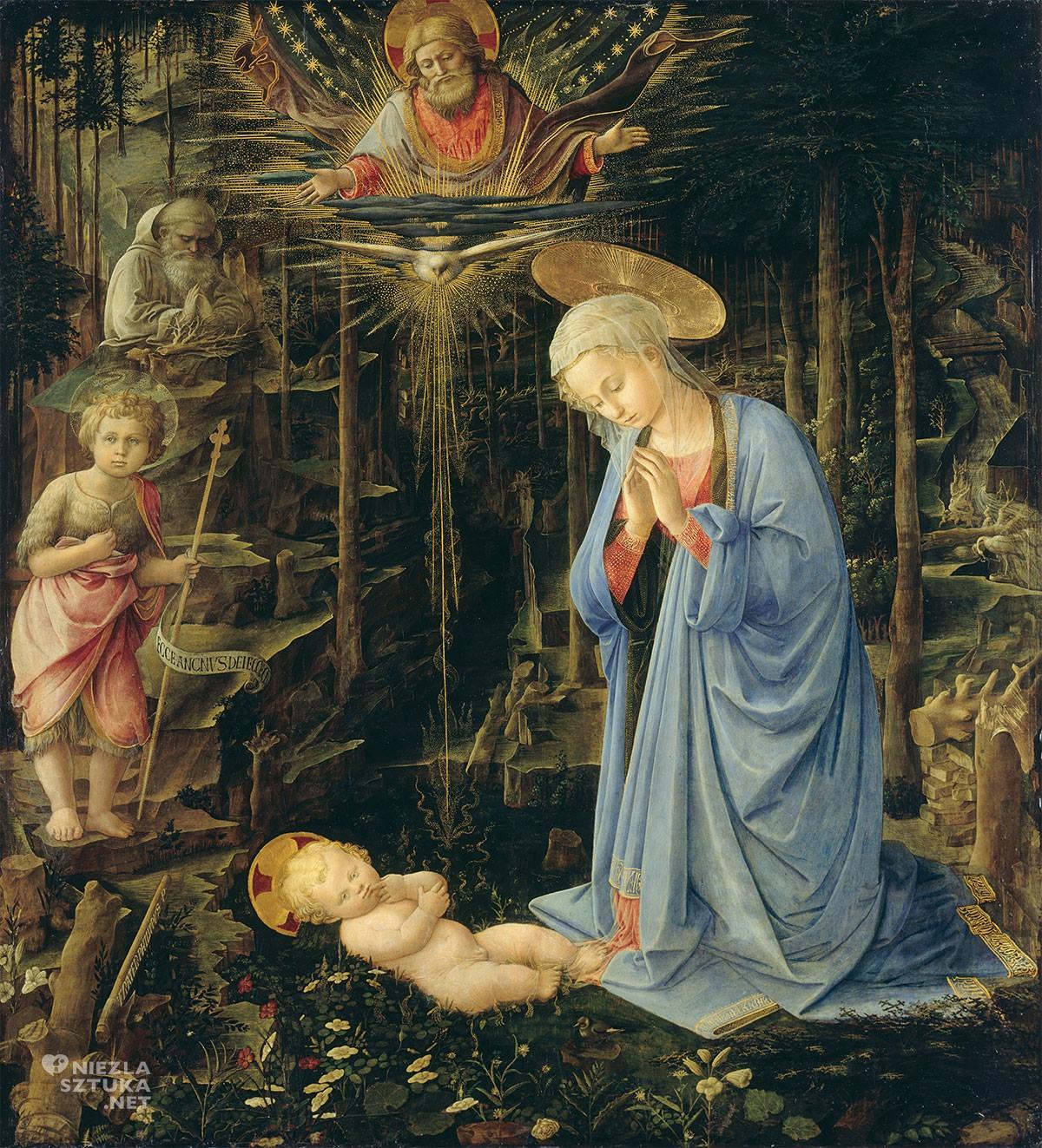 Fra Filippo Lippi, Adoracja ze św. Janem i św. Bernardem, Adoracja, Maria z dzieciątkiem, Gemaldegalerie, Berlin, Niezła sztuka