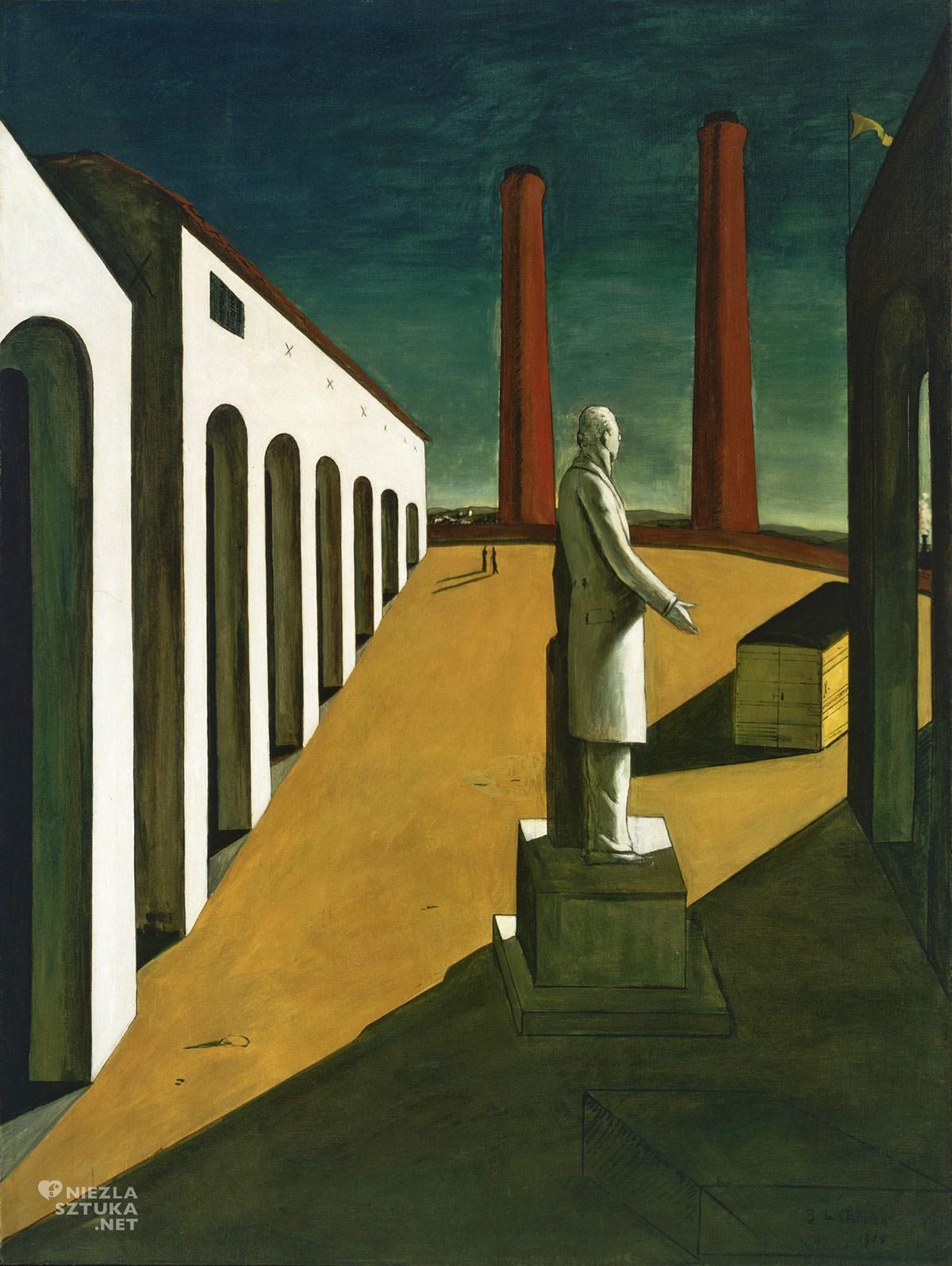 Giorgio de Chirico, Enigma dnia, sztuka włoska, malarstwo włoskie, surrealizm włoski, surrealizm, malarstwo metafizyczne, początek surrealizmu, modernizm, Niezła Sztuka