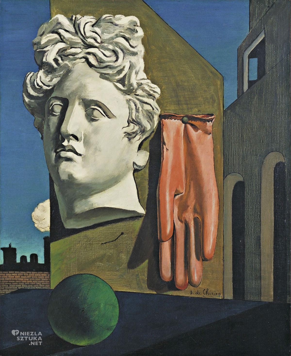 Giorgio de Chirico, Pieśń miłości, malarstwo włoskie, sztuka włoska, surrealizm, surrealizm włoski, początek surrealizmu, modernizm, Niezła Sztuka