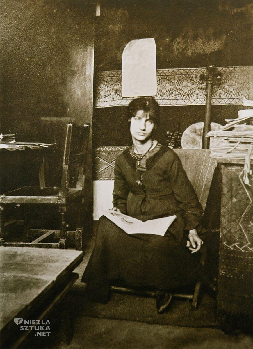 Amedeo Modigliani, Jeanne Hebuterne, Jeanne Hébuterne w pracowni Modiglianiego, portret, ekspresjonizm, sztuka nowoczesna, Ecole de Paris, Niezła Sztuka