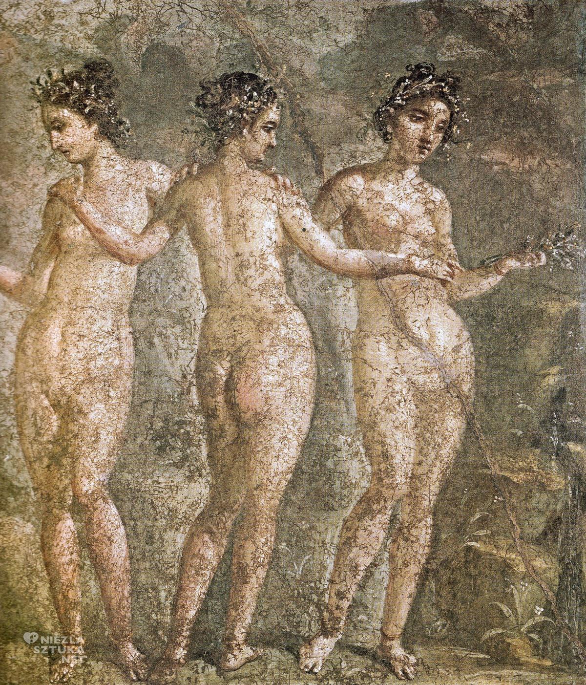 Trzy Gracje, fresk pompejański, sztuka starożytna, antyk, Niezła sztuka