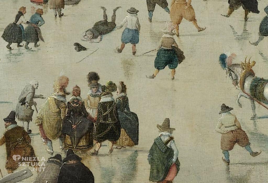 Hendrick Avercamp, Pejzaż zimowy z łyżwiarzami, zima w sztuce, malarstwo niderlandzkie, Niezła Sztuka