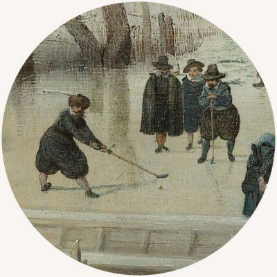 Hendrick Avercamp, Pejzaż zimowy z łyżwiarzami, zima w sztuce, malarstwo niderlandzkie, kolf, Niezła Sztuka