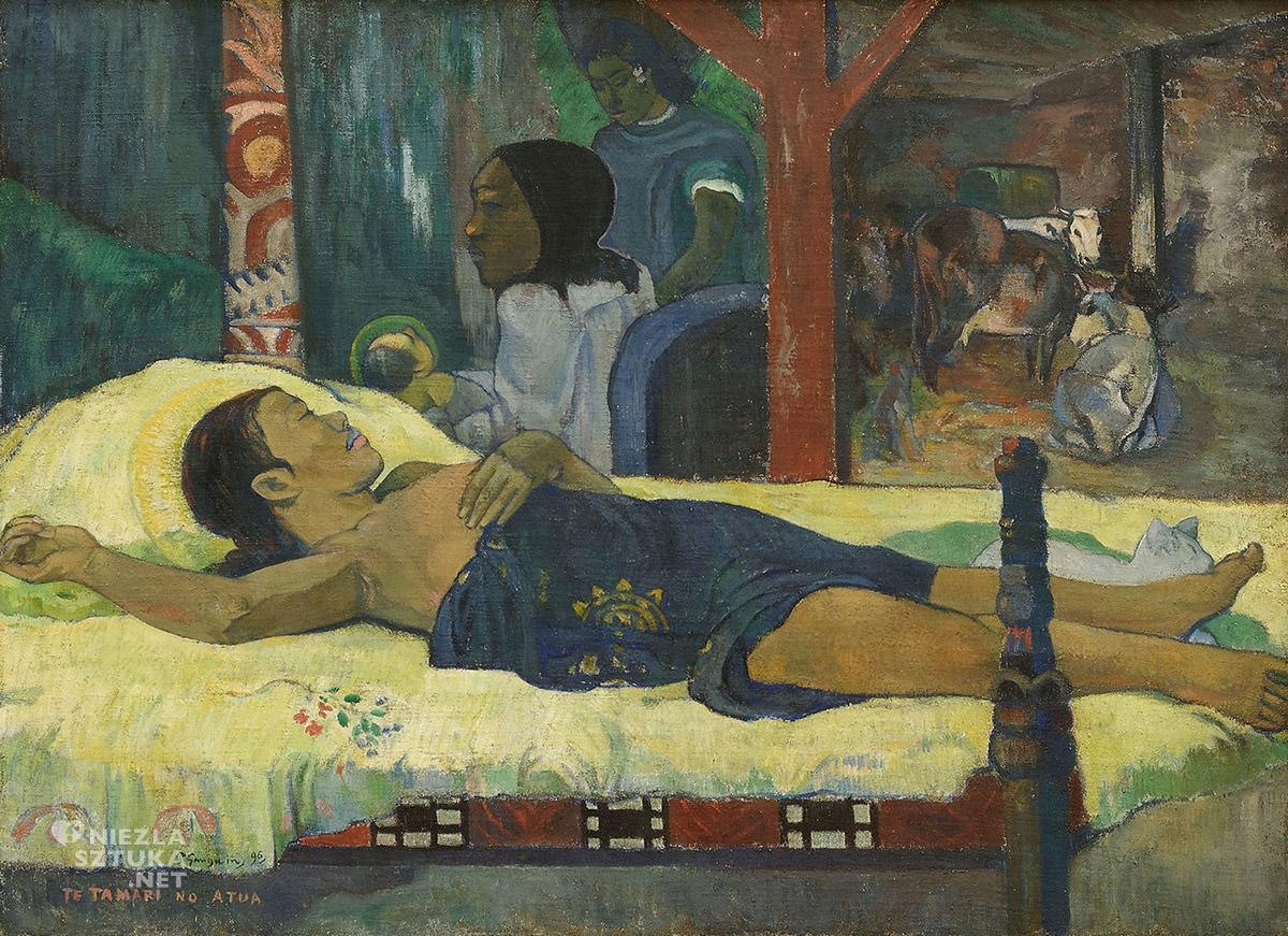 Paul Gauguin, Te tamari no atua, Syn Boży, postimpresjonizm, impresjonizm, postimpresjoniści, malarstwo Tahiti, malarstwo Polinezji, podróże Gauguina, Niezła Sztuka