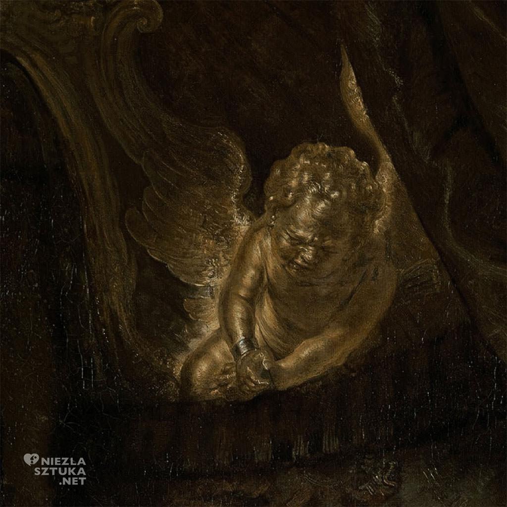 Rembrandt, Danae, detal, malarstwo niderlandzkie, sztuka europejska, Niezła Sztuka
