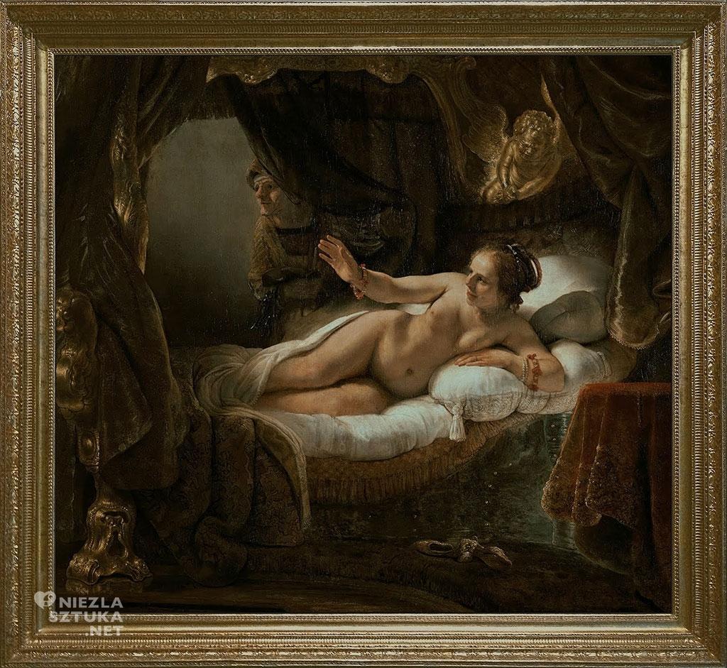 Rembrandt, Danae, rama, malarstwo niderlandzkie, sztuka europejska, Niezła Sztuka