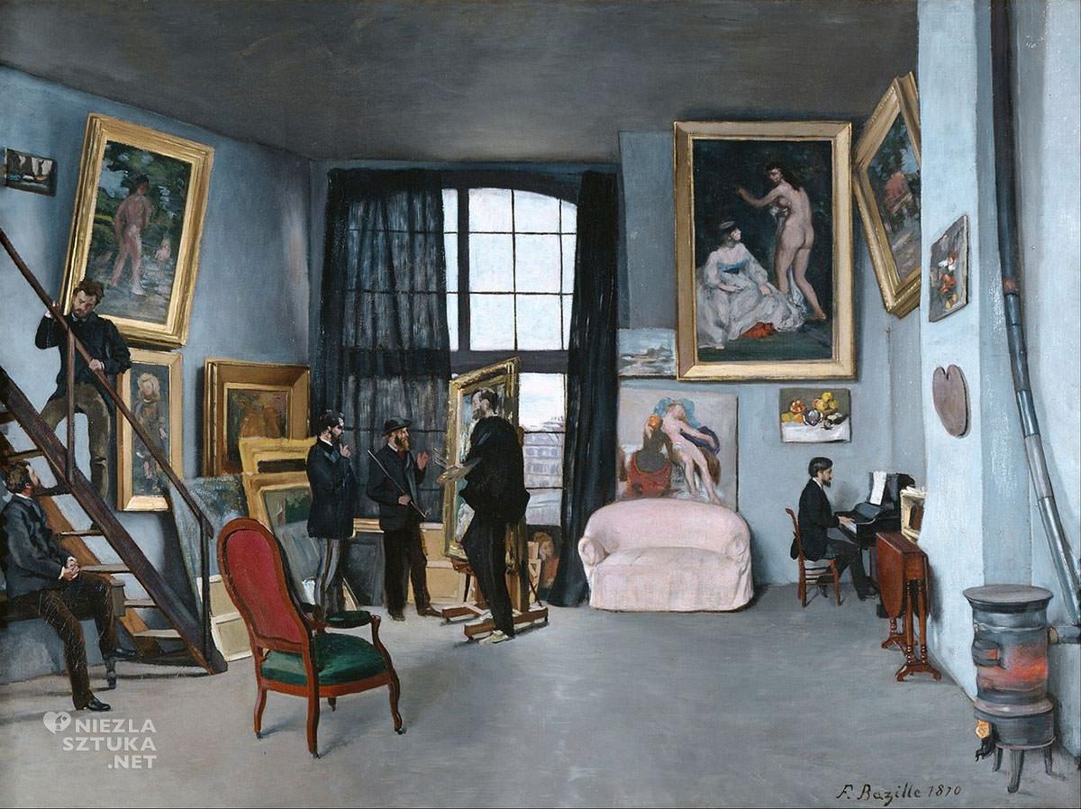 Frédéric Bazille, Atelier Bazille'a, atelier artysty, obraz w obrazie, Musée d'Orsay, Paryż, Niezła Sztuka