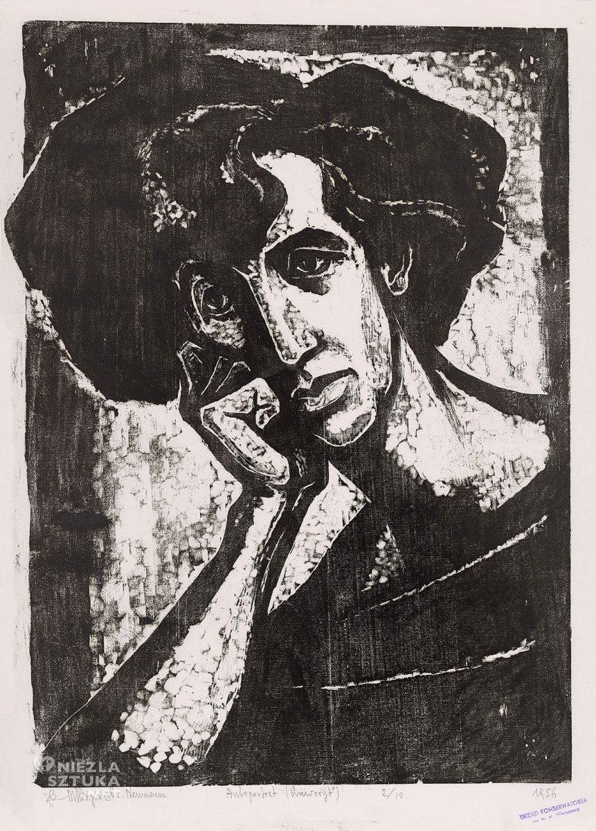 Maria Hiszpańska-Neumann, autoportret, grafika, drzeworyt, Niezła sztuka