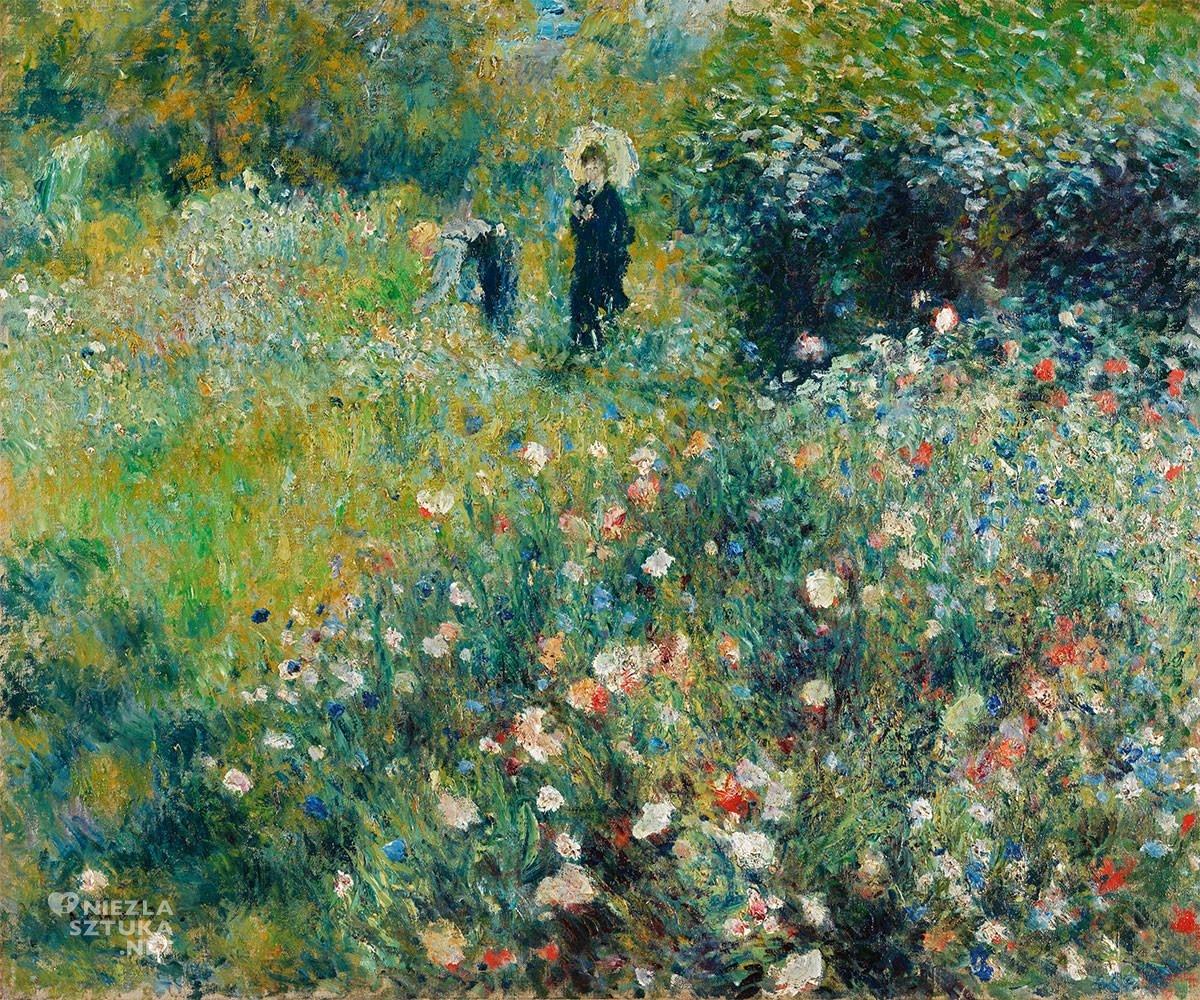 Pierre-Auguste Renoir, Kobieta z parasolem w ogrodzie, impresjonizm, Niezła Sztuka