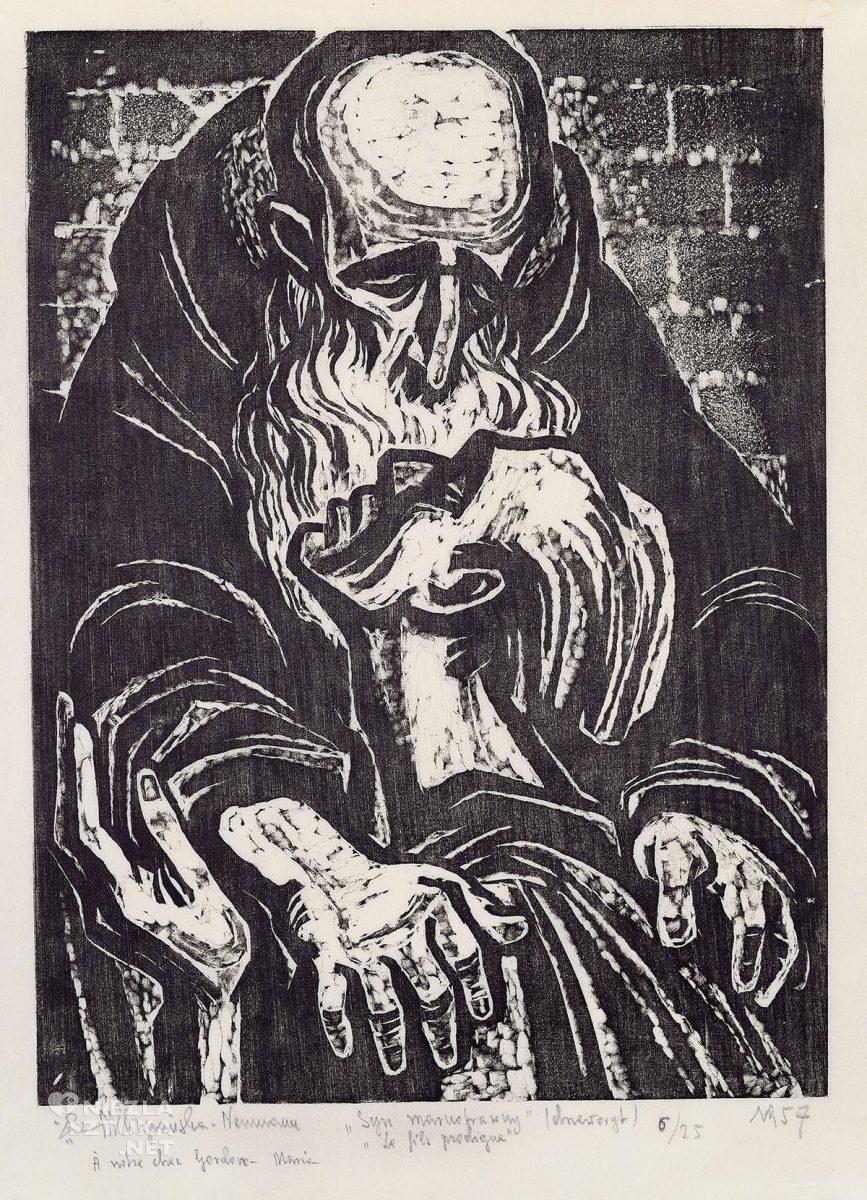 Maria Hiszpańska-Neumann, syn marnotrawny, drzeworyt, ilustracja, grafika, Niezła sztuka