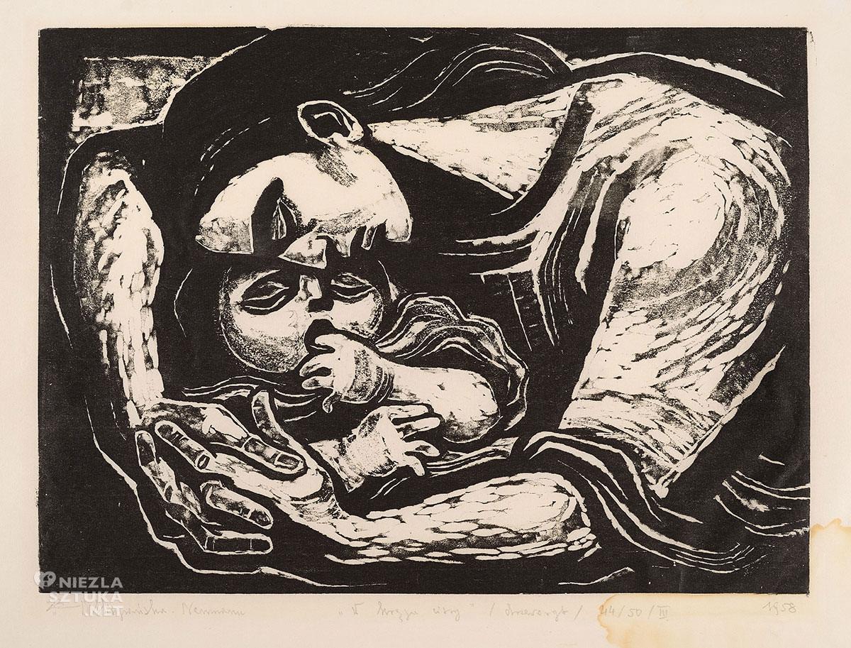 Maria Hiszpańska-Neumann, macierzyństwo, dziecko w sztuce, drzeworyt, ilustracja, grafika, Niezła sztuka