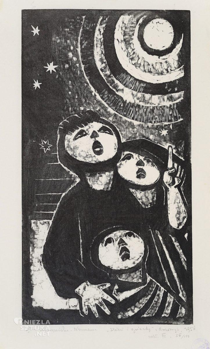 Maria Hiszpańska-Neumann, dziecko w sztuce, drzeworyt, ilustracja, grafika, Niezła sztuka
