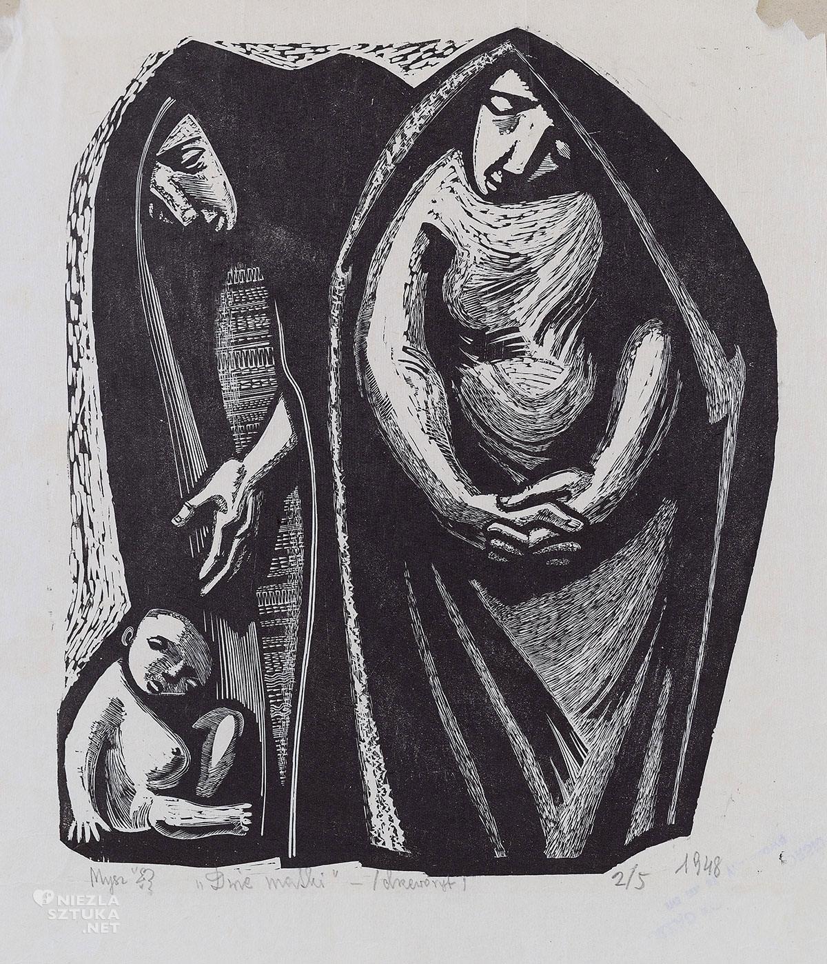 Maria Hiszpańska-Neumann, matka, drzeworyt, ilustracja, grafika, Niezła sztuka