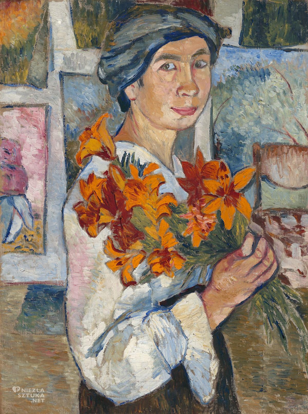 Natalia Gonczarowa, Autoportret z żółtymi liliami, kobiety w sztuce, malarka, Rosja, Niezła Sztuka