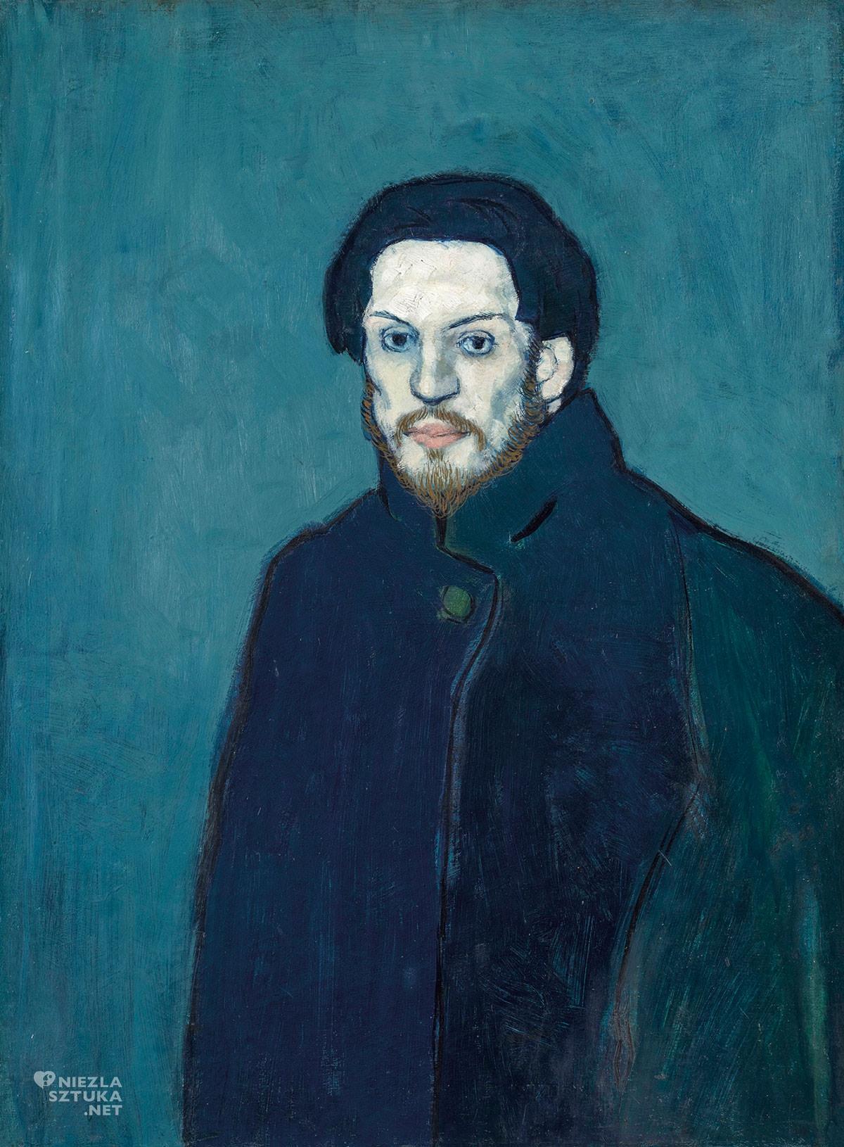 Pablo Picasso, Autoportret w płaszczu, okres błękitny, Niezła Sztuka