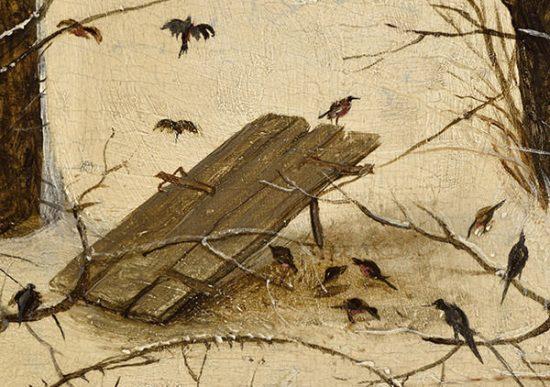 Pułapka na ptaki, Pieter Bruegel, Zimowy pejzaż z łyżwiarzami, Niezła sztuka