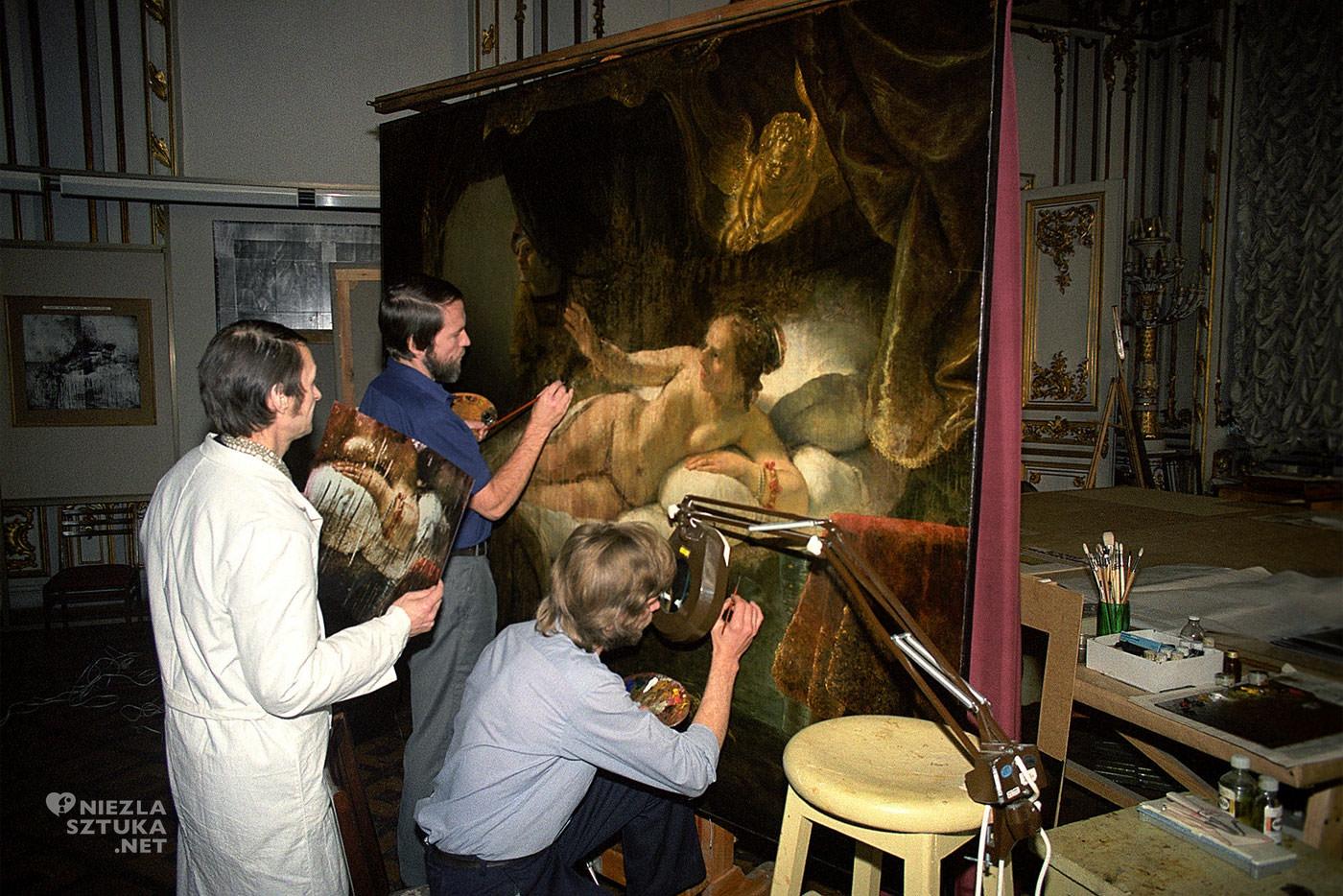 Rembrandt, Danae, renowacja, Ermitaż, Sankt Petersburg, Niezła Sztuka